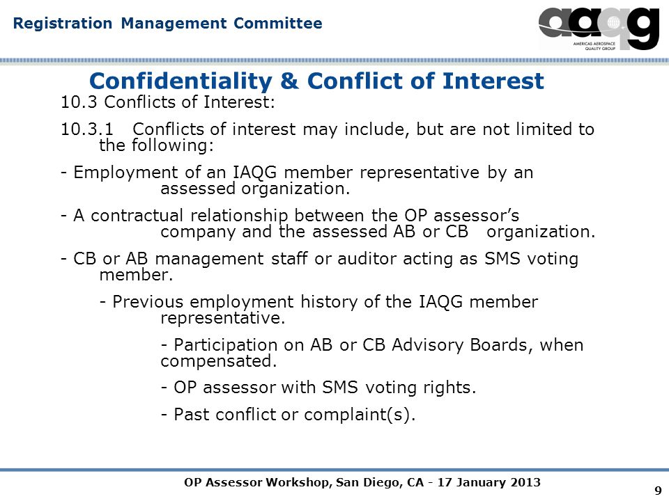 OP Assessor Workshop, San Diego, CA - 17 January 2013 Registration Management Committee 10 9104-002 FORM AFORM A OTHER PARTY (OP) ASSESSOR INDUSTRY CONTROLLED OTHER PARTY (ICOP) DECLARATION FORM