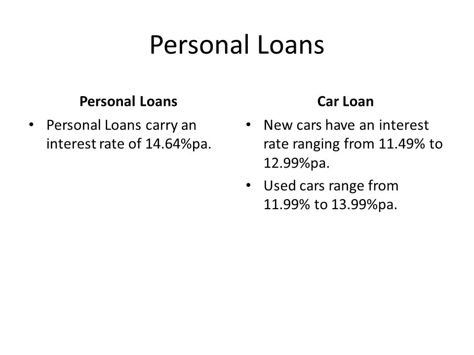 Personal Loans Personal Loans carry an interest rate of 14.64%pa. Car Loan New cars have an interest rate ranging from 11.49% to 12.99%pa. Used cars r