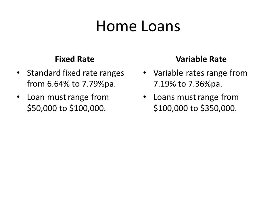 Home Loans Fixed Rate Standard fixed rate ranges from 6.64% to 7.79%pa. Loan must range from $50,000 to $100,000. Variable Rate Variable rates range f