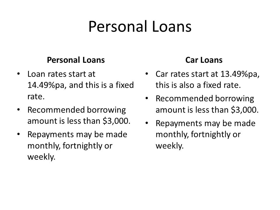 Personal Loans Loan rates start at 14.49%pa, and this is a fixed rate. Recommended borrowing amount is less than $3,000. Repayments may be made monthl