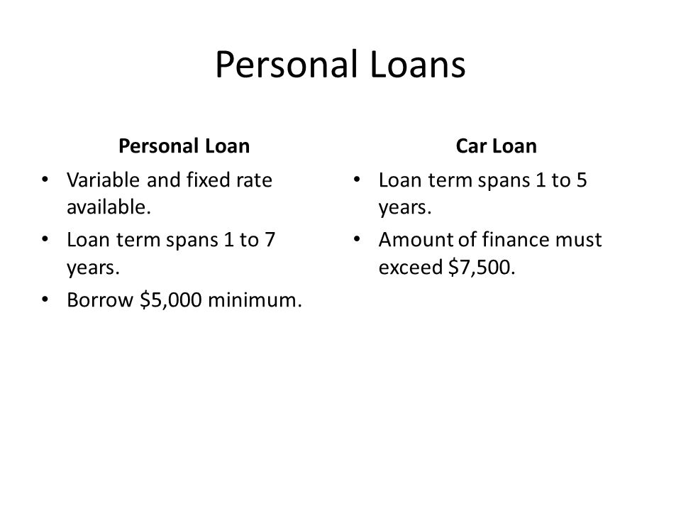Personal Loans Personal Loan Variable and fixed rate available.