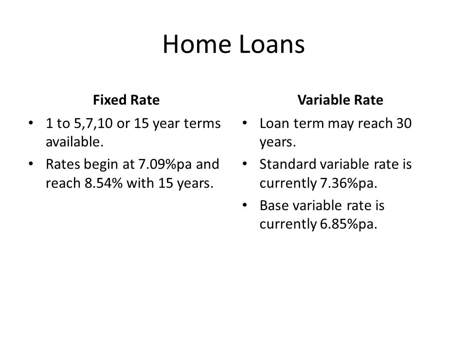 Home Loans Fixed Rate 1 to 5,7,10 or 15 year terms available.