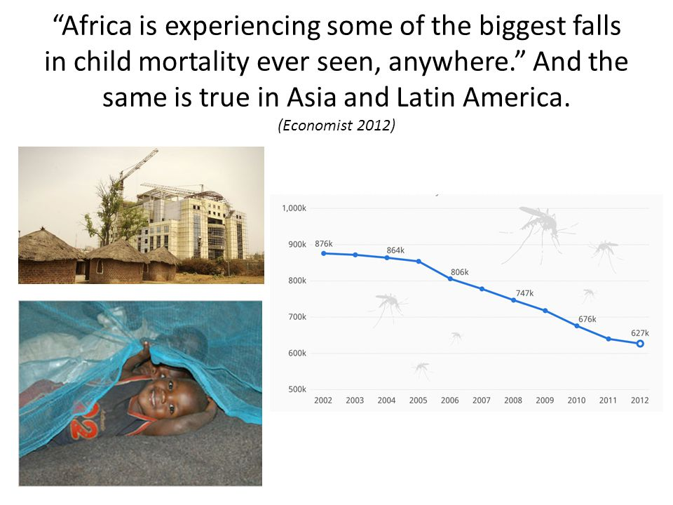 Africa is experiencing some of the biggest falls in child mortality ever seen, anywhere. And the same is true in Asia and Latin America.