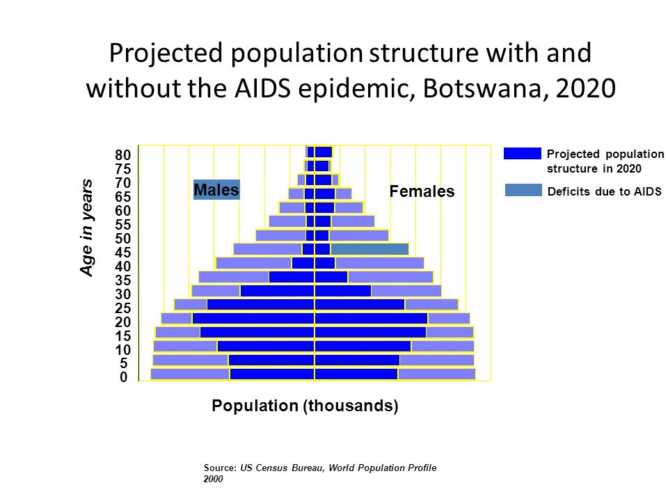 80 75 70 65 60 55 50 45 40 35 30 25 20 15 10 5 0 Males Females Deficits due to AIDS Projected population structure in 2020 Population (thousands) Age in years Source: US Census Bureau, World Population Profile 2000 Projected population structure with and without the AIDS epidemic, Botswana, 2020