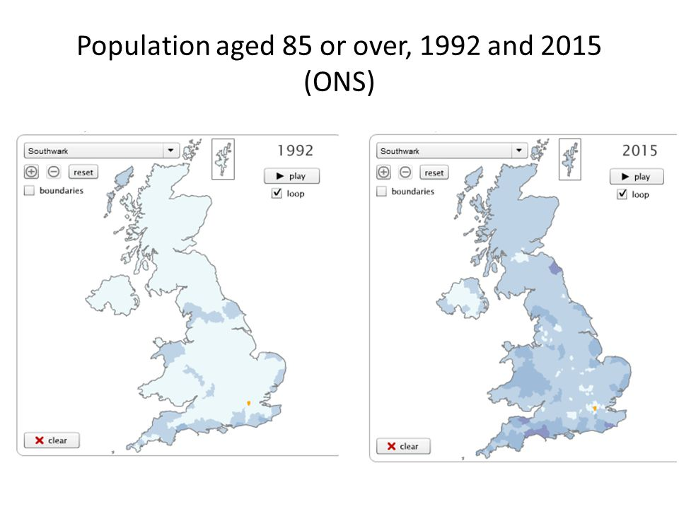 Population aged 85 or over, 1992 and 2015 (ONS)