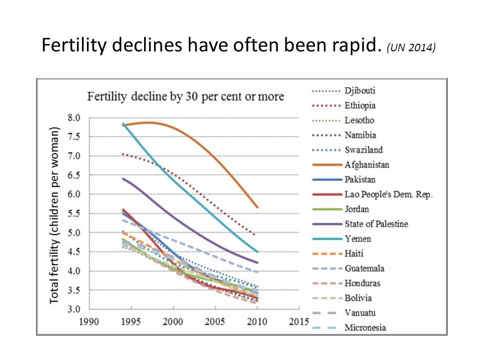Fertility declines have often been rapid. (UN 2014)