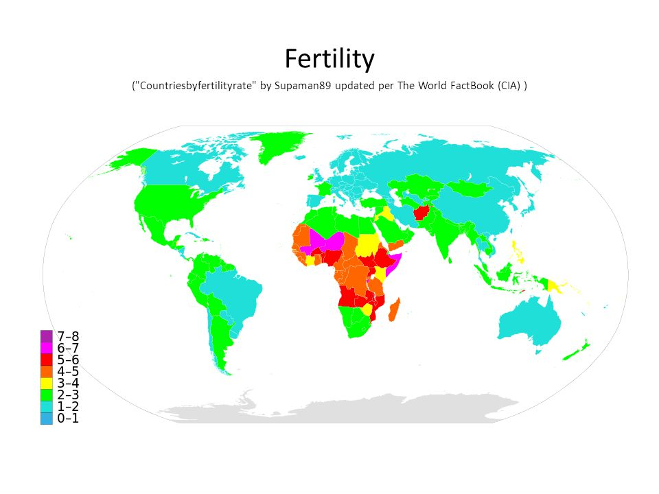 Fertility ( Countriesbyfertilityrate by Supaman89 updated per The World FactBook (CIA) )