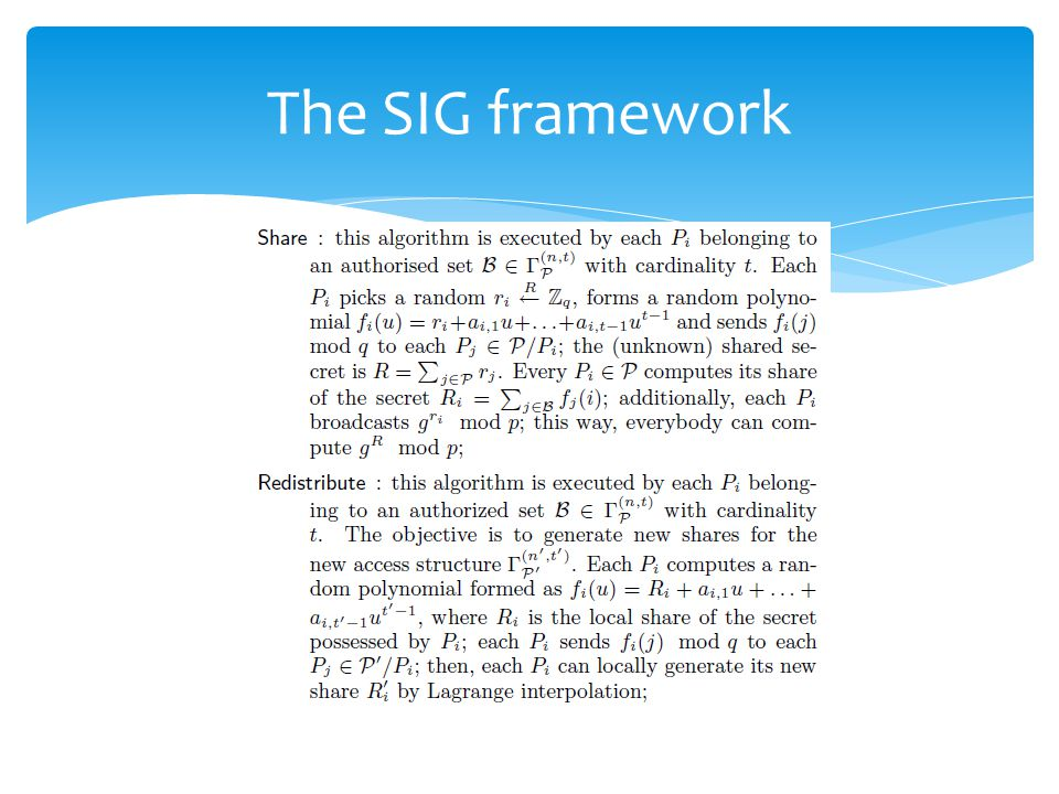 The SIG framework