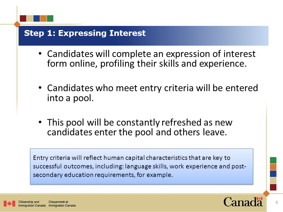 Candidates will complete an expression of interest form online, profiling their skills and experience.