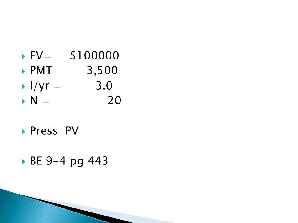  FV= $100000  PMT= 3,500  I/yr = 3.0  N = 20  Press PV  BE 9-4 pg 443