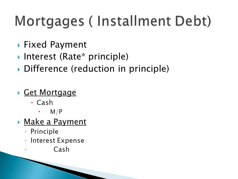  Fixed Payment  Interest (Rate* principle)  Difference (reduction in principle)  Get Mortgage  Cash  M/P  Make a Payment ◦ Principle ◦ Interest Expense ◦ Cash