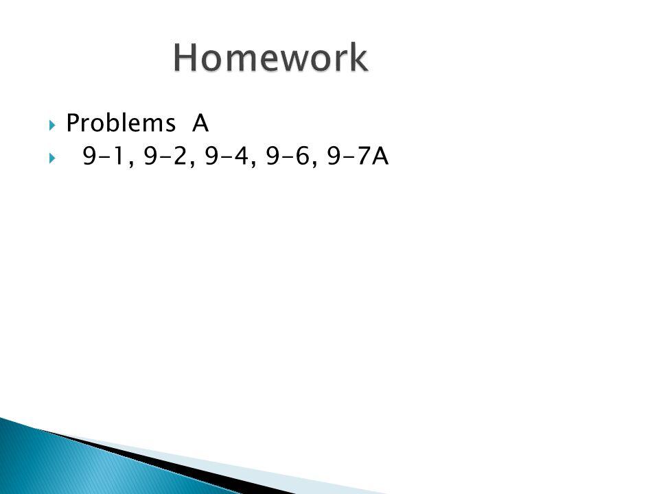  Problems A  9-1, 9-2, 9-4, 9-6, 9-7A