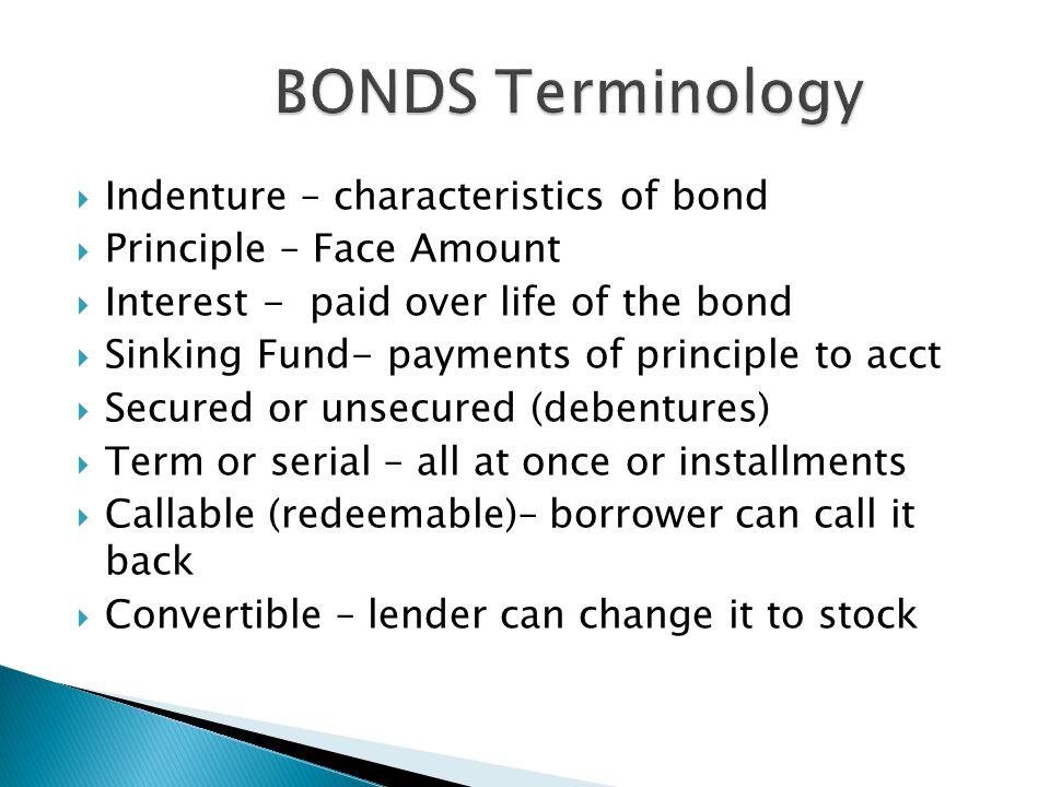  Bond terminology