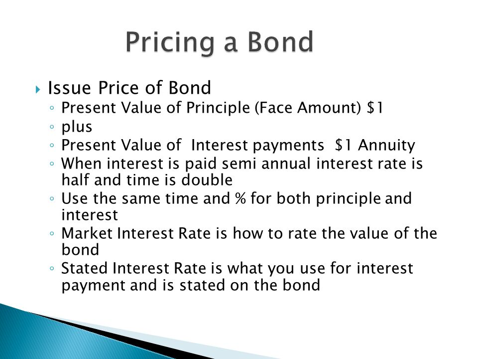  The higher the market interest rate, the lower the bond issue price will be.