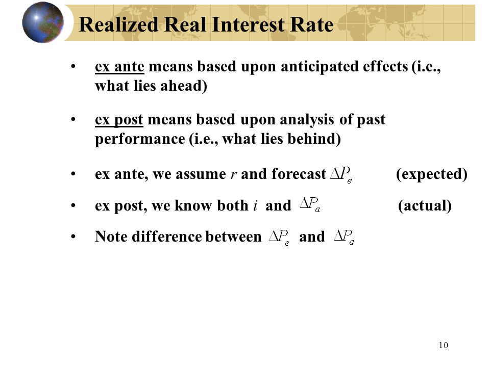 Realized Real Interest Rate ex ante means based upon anticipated effects (i.e., what lies ahead) ex post means based upon analysis of past performance