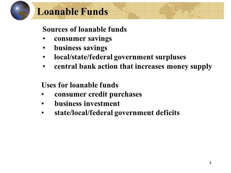 4 Sources of loanable funds consumer savings business savings local/state/federal government surpluses central bank action that increases money supply