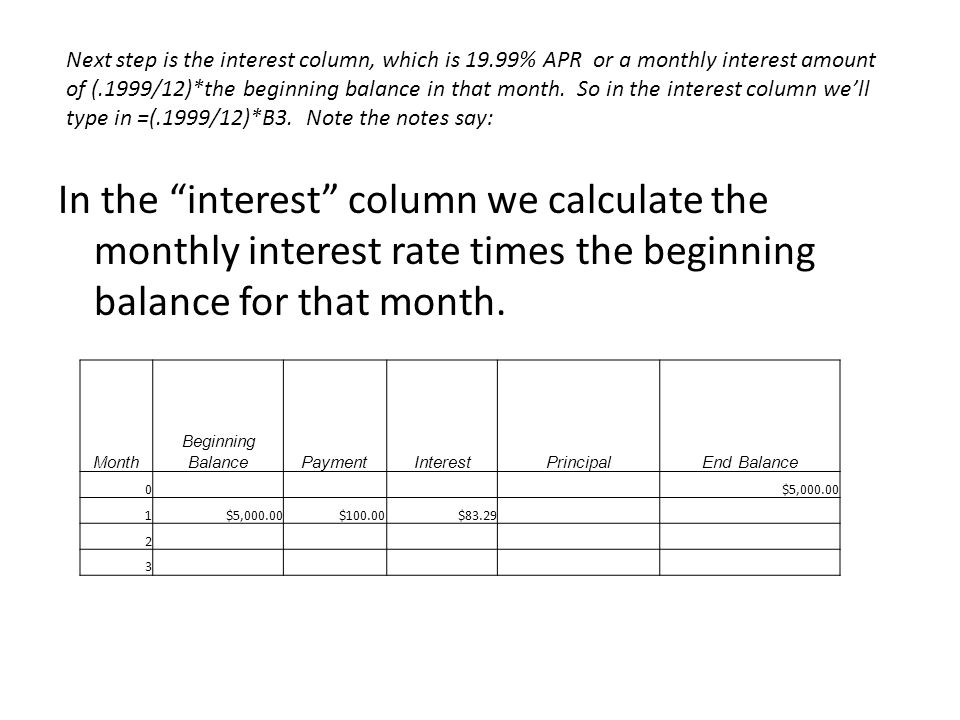 In the interest column we calculate the monthly interest rate times the beginning balance for that month.
