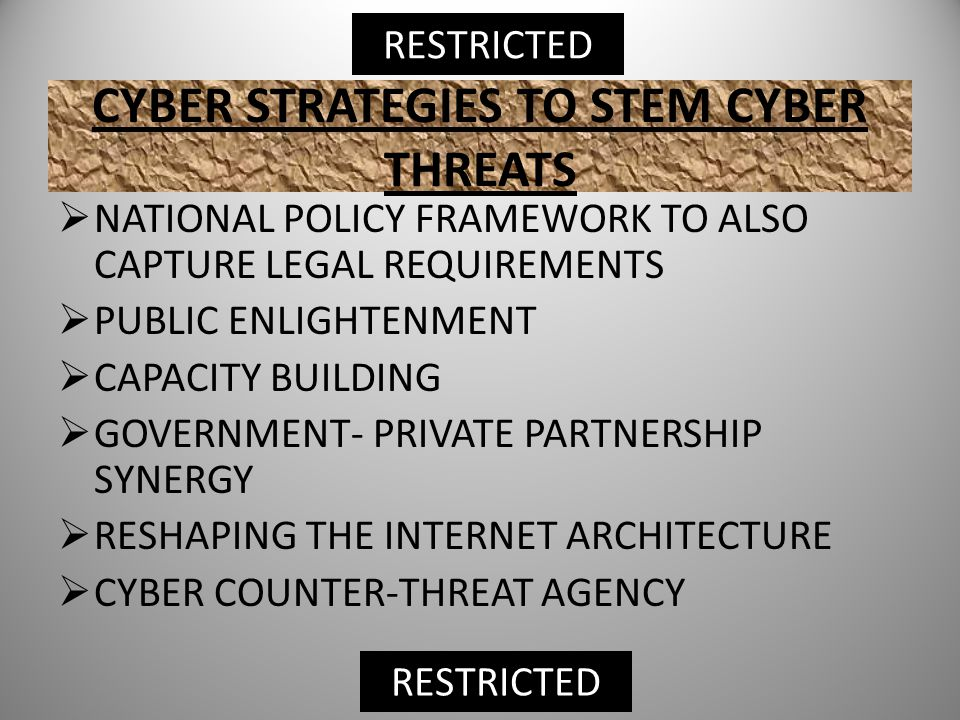 CYBER STRATEGIES TO STEM CYBER THREATS  NATIONAL POLICY FRAMEWORK TO ALSO CAPTURE LEGAL REQUIREMENTS  PUBLIC ENLIGHTENMENT  CAPACITY BUILDING  GOVERNMENT- PRIVATE PARTNERSHIP SYNERGY  RESHAPING THE INTERNET ARCHITECTURE  CYBER COUNTER-THREAT AGENCY RESTRICTED