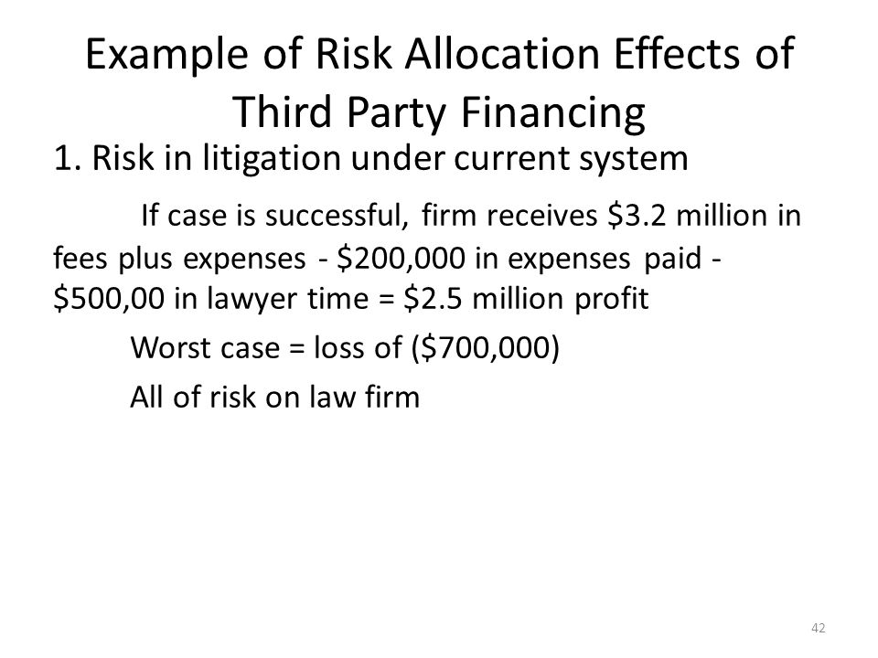Example of Risk Allocation Effects of Third Party Financing 1.