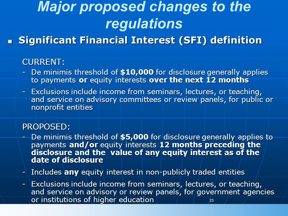 Major proposed changes to the regulations Significant Financial Interest (SFI) definition Significant Financial Interest (SFI) definitionCURRENT: -De