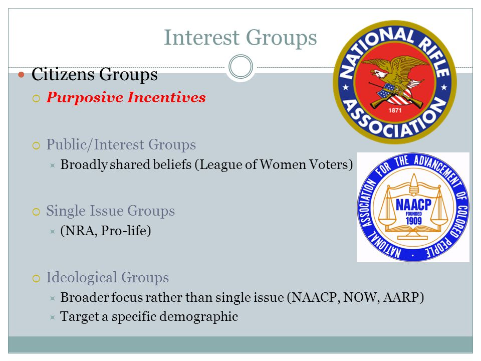 Interest Groups Citizens Groups  Purposive Incentives  Public/Interest Groups  Broadly shared beliefs (League of Women Voters)  Single Issue Groups  (NRA, Pro-life)  Ideological Groups  Broader focus rather than single issue (NAACP, NOW, AARP)  Target a specific demographic