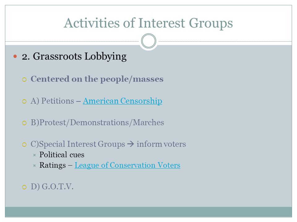 Activities of Interest Groups 2.