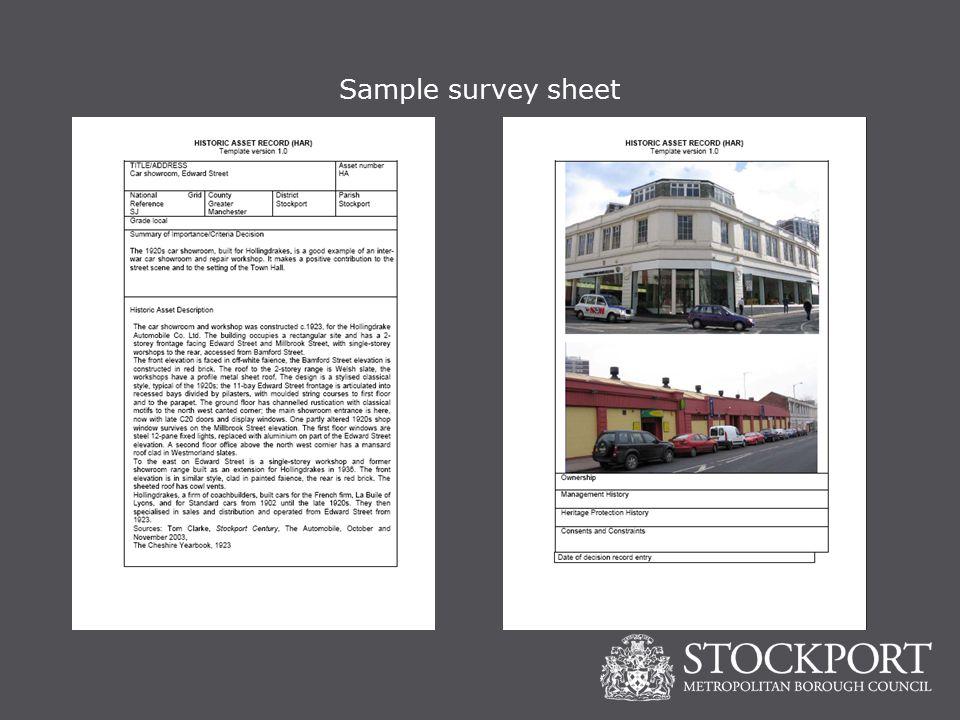 Sample survey sheet