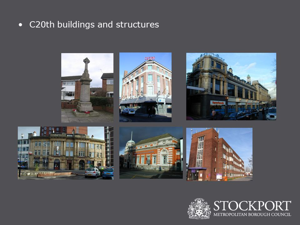 C20th buildings and structures