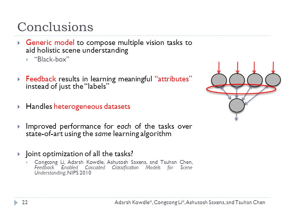 " Generic model to compose multiple vision tasks to aid holistic scene understanding  ""Black-box""  Feedback results in learning meaningful ""attribut"