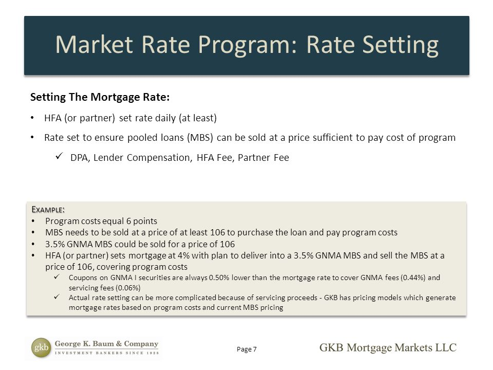 Setting The Mortgage Rate: HFA (or partner) set rate daily (at least) Rate set to ensure pooled loans (MBS) can be sold at a price sufficient to pay c