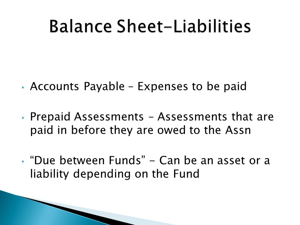 Accounts Payable – Expenses to be paid Prepaid Assessments – Assessments that are paid in before they are owed to the Assn Due between Funds - Can be an asset or a liability depending on the Fund