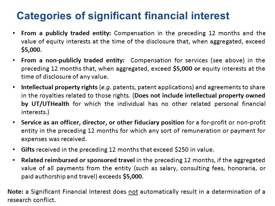Categories of significant financial interest From a publicly traded entity: Compensation in the preceding 12 months and the value of equity interests at the time of the disclosure that, when aggregated, exceed $5,000.