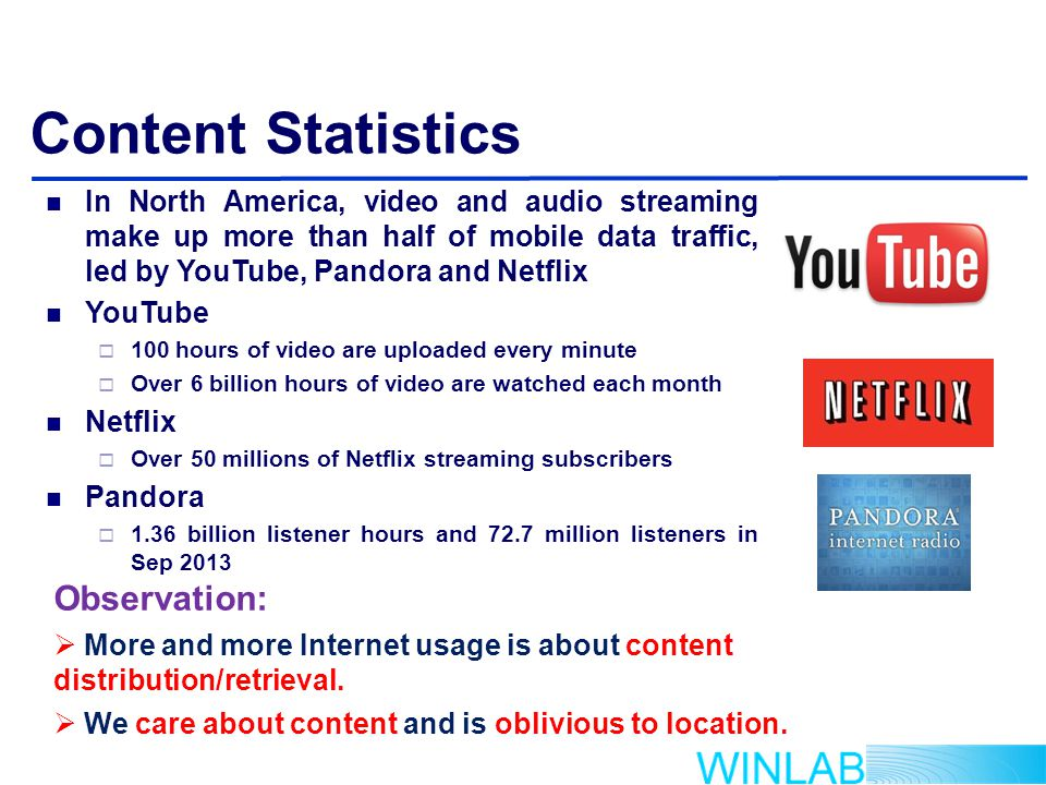 Content Statistics In North America, video and audio streaming make up more than half of mobile data traffic, led by YouTube, Pandora and Netflix YouTube  100 hours of video are uploaded every minute  Over 6 billion hours of video are watched each month Netflix  Over 50 millions of Netflix streaming subscribers Pandora  1.36 billion listener hours and 72.7 million listeners in Sep 2013 Observation:  More and more Internet usage is about content distribution/retrieval.