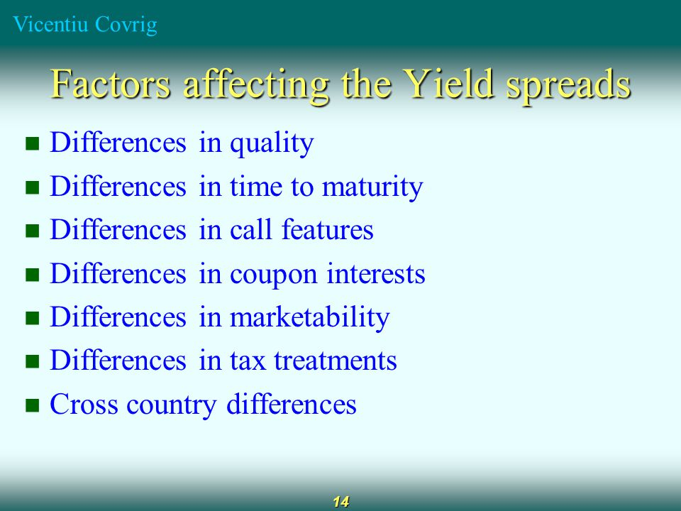 Vicentiu Covrig 14 Factors affecting the Yield spreads Differences in quality Differences in time to maturity Differences in call features Differences in coupon interests Differences in marketability Differences in tax treatments Cross country differences