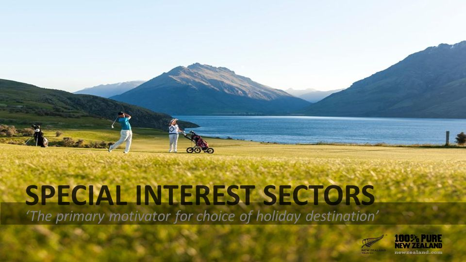 SPECIAL INTEREST SECTORS 'The primary motivator for choice of holiday destination'