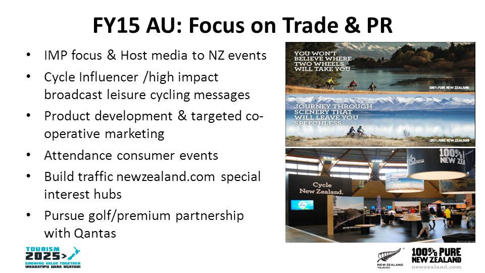 FY15 AU: Focus on Trade & PR IMP focus & Host media to NZ events Cycle Influencer /high impact broadcast leisure cycling messages Product development & targeted co- operative marketing Attendance consumer events Build traffic newzealand.com special interest hubs Pursue golf/premium partnership with Qantas