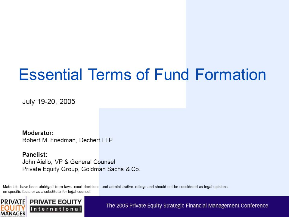 2005 Private Equity Strategic Financial Management Conference 2 I. Offering Process