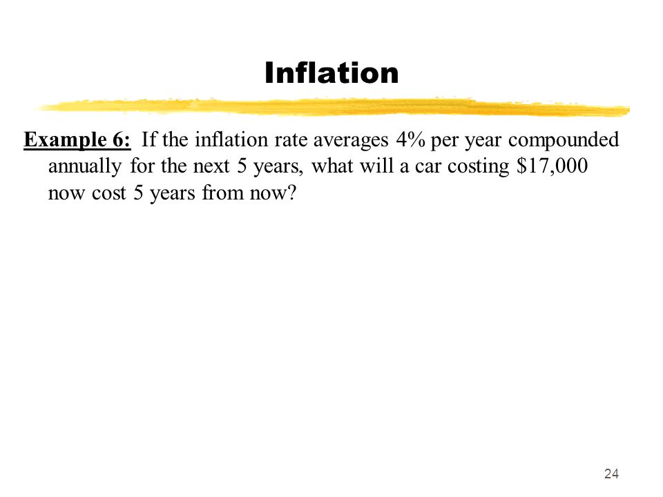 24 Inflation Example 6: If the inflation rate averages 4% per year compounded annually for the next 5 years, what will a car costing $17,000 now cost