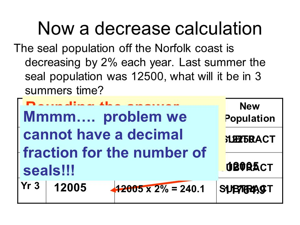 Now a decrease calculation The seal population off the Norfolk coast is decreasing by 2% each year. Last summer the seal population was 12500, what wi