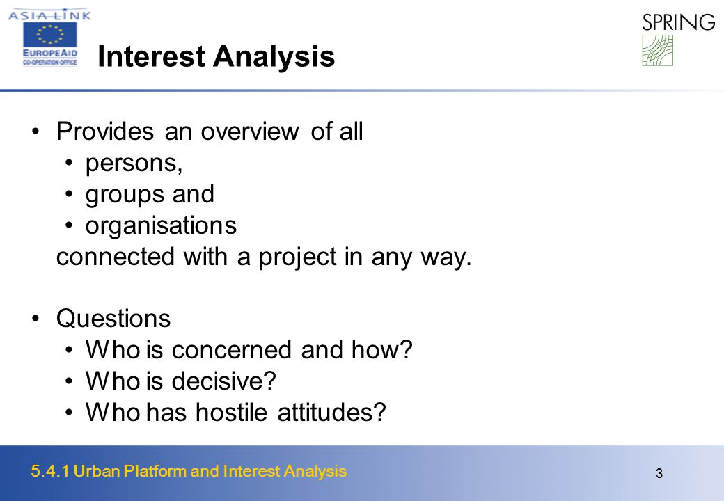 5.4.1 Urban Platform and Interest Analysis 3 Interest Analysis Provides an overview of all persons, groups and organisations connected with a project in any way.