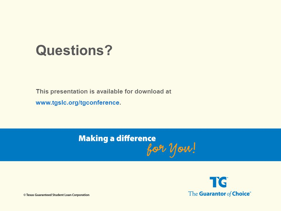 Questions? This presentation is available for download at www.tgslc.org/tgconference.