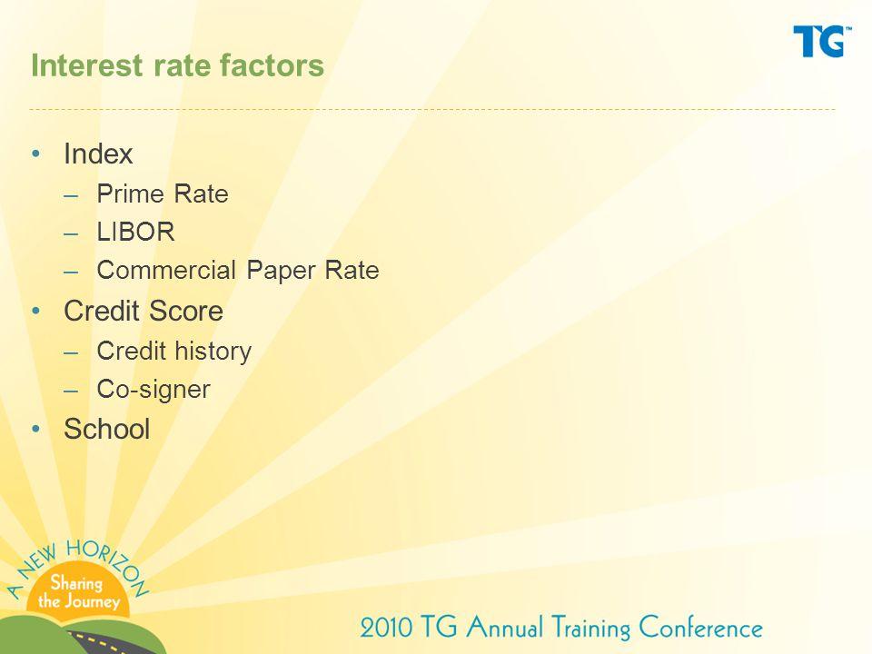 Interest rate factors Index –Prime Rate –LIBOR –Commercial Paper Rate Credit Score –Credit history –Co-signer School