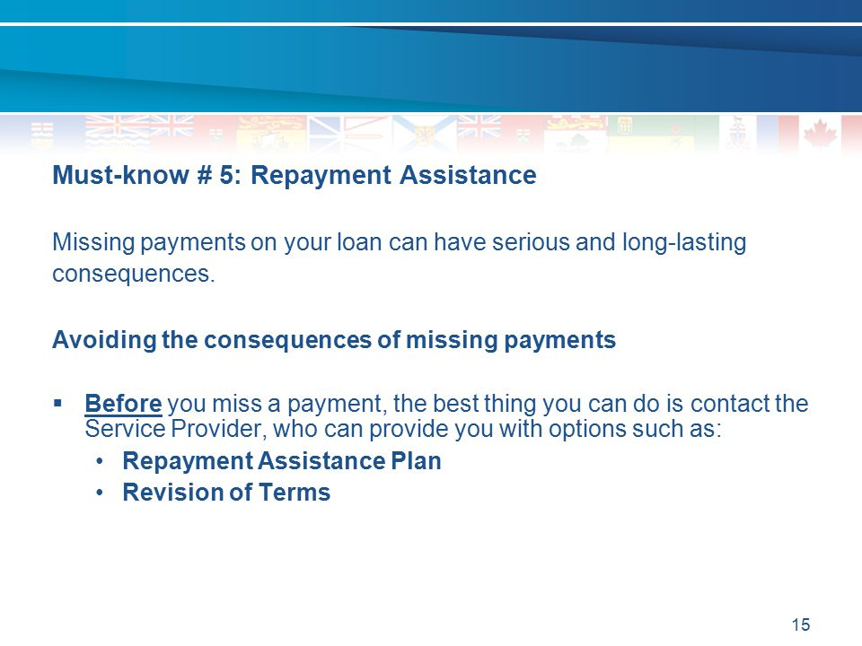 15 Must-know # 5: Repayment Assistance Missing payments on your loan can have serious and long-lasting consequences. Avoiding the consequences of miss