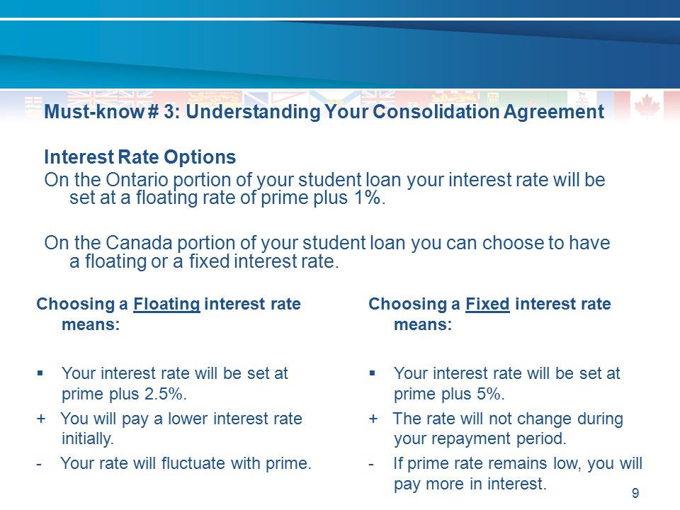 9 Must-know # 3: Understanding Your Consolidation Agreement Interest Rate Options On the Ontario portion of your student loan your interest rate will