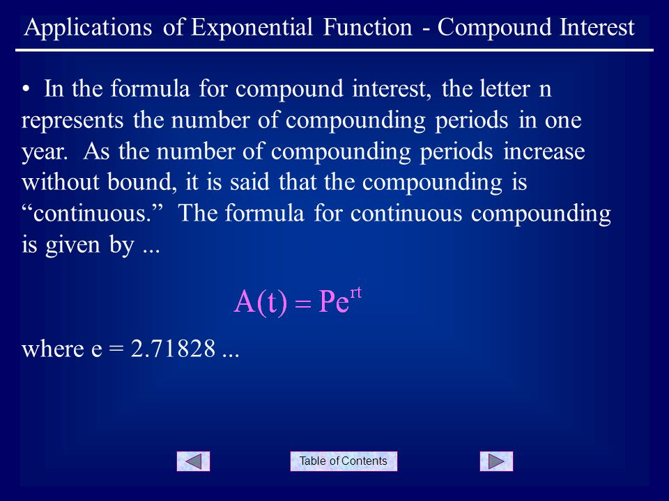 Table of Contents Applications of Exponential Function - Compound Interest In the formula for compound interest, the letter n represents the number of compounding periods in one year.