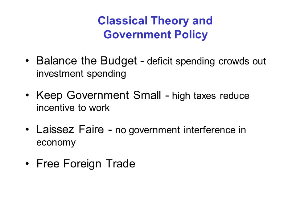 Classical Theory and Government Policy Balance the Budget - deficit spending crowds out investment spending Keep Government Small - high taxes reduce