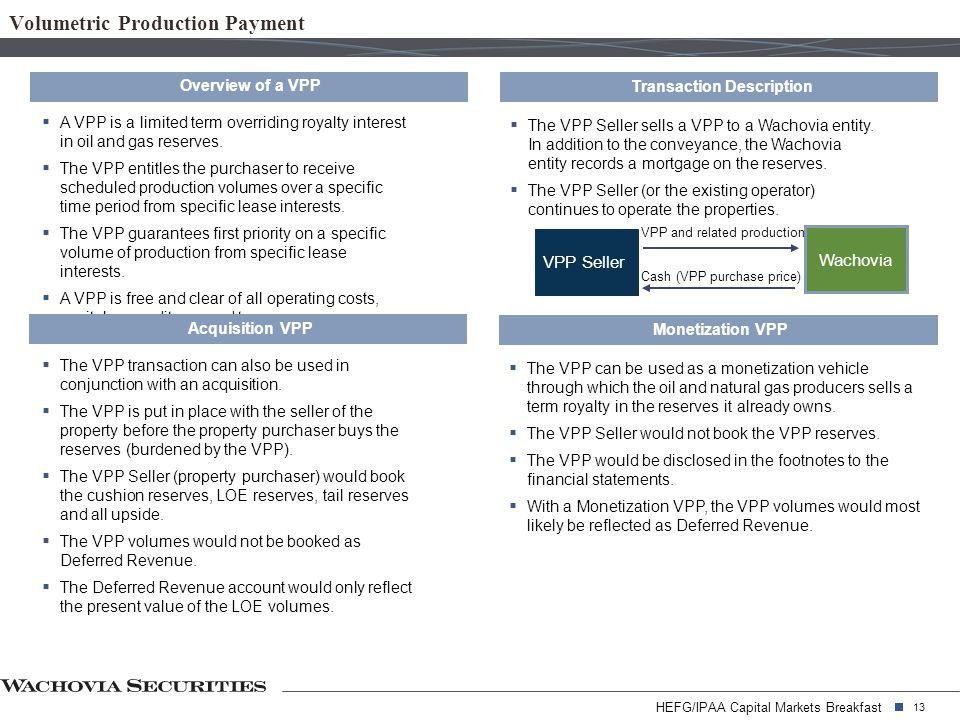HEFG/IPAA Capital Markets Breakfast 13 Volumetric Production Payment Overview of a VPP  A VPP is a limited term overriding royalty interest in oil and gas reserves.