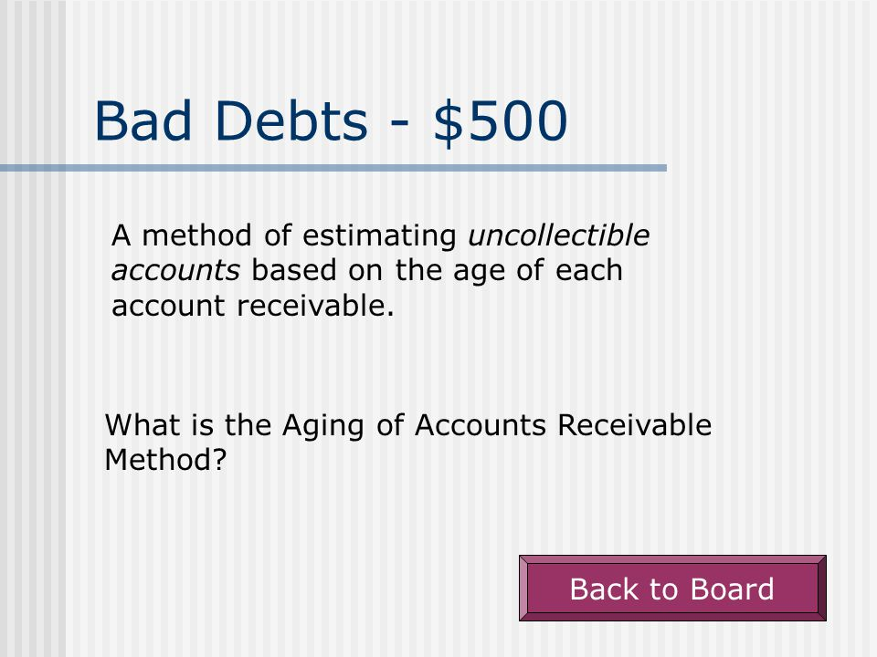 Bad Debts - $400 A method of estimating bad debt expense based on the percentage of credit sales in prior years that weren't collected.