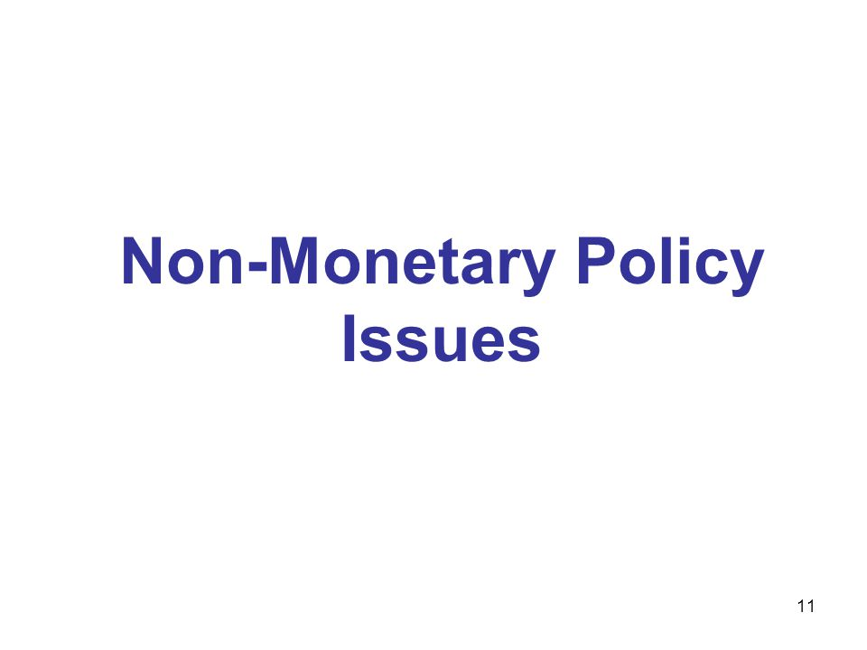 11 Non-Monetary Policy Issues