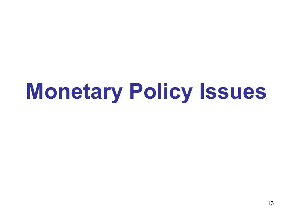 13 Monetary Policy Issues